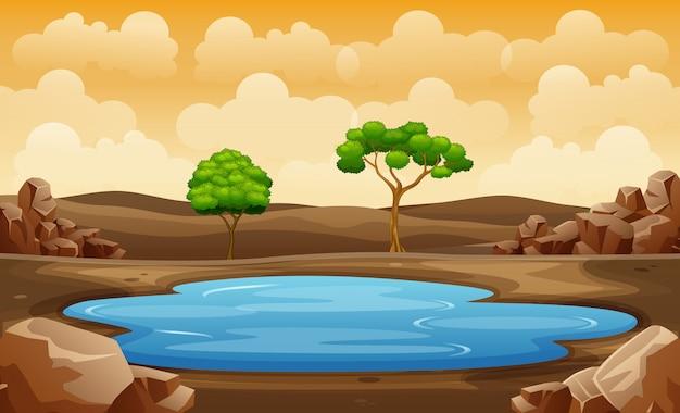Escena con pozo de agua en la ilustración de campo