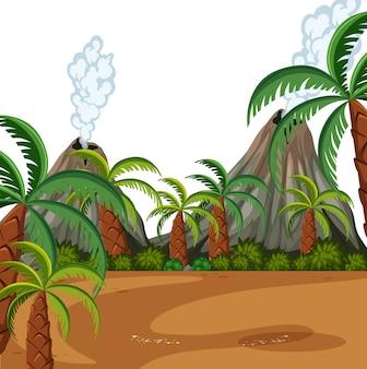 Una escena prehistórica de la naturaleza.