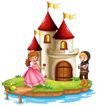 Escena con princesa y caballero en el castillo