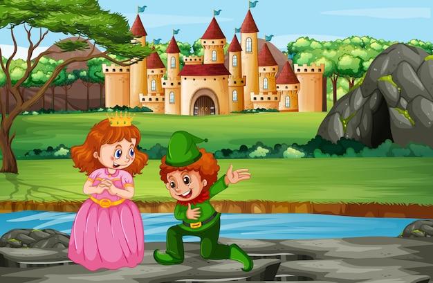 Escena con el príncipe y la princesa en el castillo.