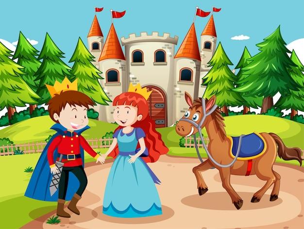Escena con príncipe y princesa en el castillo.