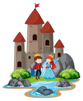Escena con el príncipe y la princesa junto a las grandes torres del castillo.