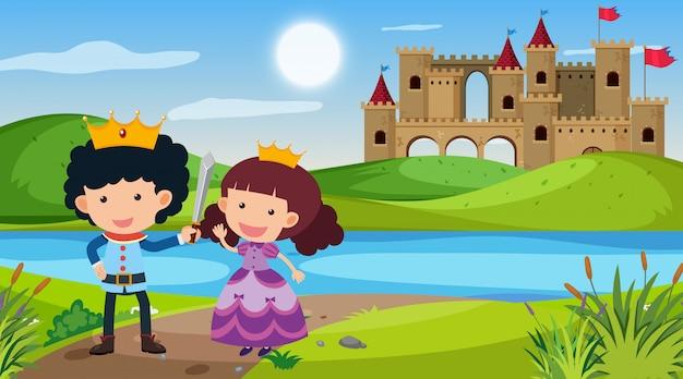 Escena con príncipe y princesa en tierra de cuento de hadas
