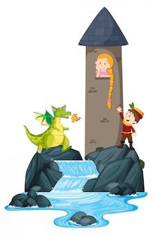 Escena con el príncipe salvando a la princesa en la torre