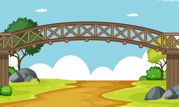 Escena de un puente de madera.
