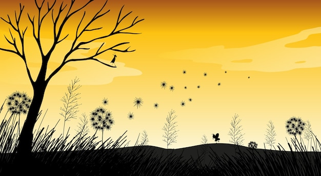 Escena de puesta de sol de silueta de naturaleza al aire libre