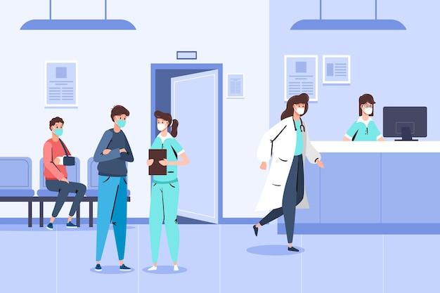 Escena de recepción de hospital dibujada a mano con personas con máscaras médicas