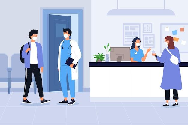Escena de recepción de hospital dibujada a mano plana