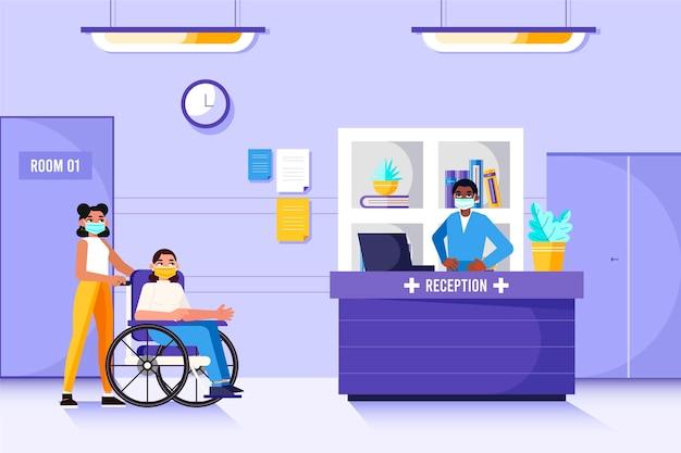 Escena de recepción de hospital plana