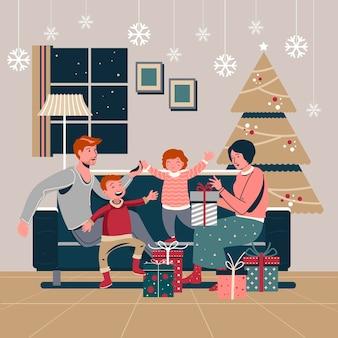 Escena de regalos de navidad de diseño plano con familia