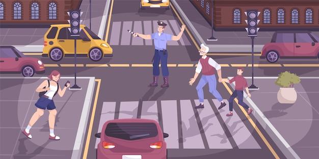 Escena de regulación de la policía de tráfico con cruce y peatones ilustración plana