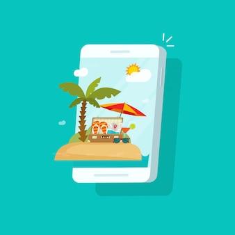 Escena del resort en la pantalla del teléfono móvil o reserva de viajes en línea a través del diseño plano de dibujos animados vector ilustración