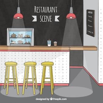 Escena de restaurante con taburetes amarillos