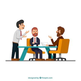 Escena de reunión con hombres de negocios
