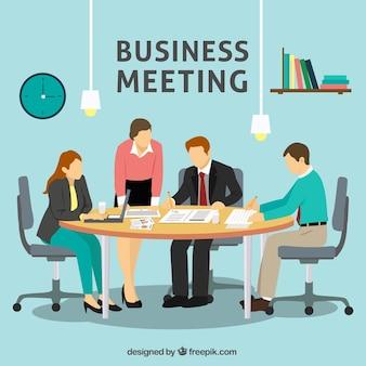 Escena de reunión de negocios en la oficina