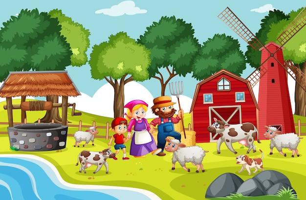 Escena de rimas infantiles de granja