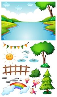 Escena de río en blanco con objetos y personajes de dibujos animados aislados