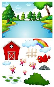 Escena de río en blanco con personajes y objetos de dibujos animados aislados
