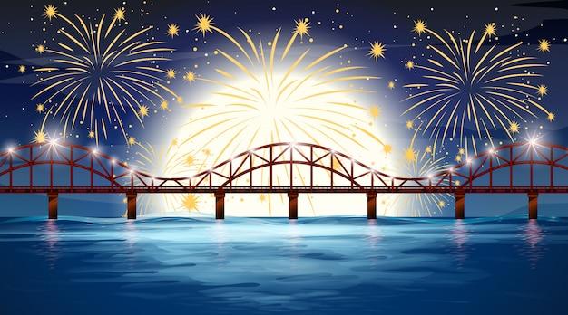 Escena del río con fuegos artificiales de celebración