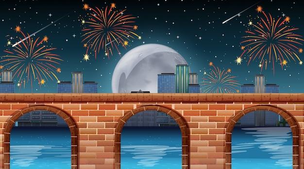 Escena del río con fuegos artificiales de celebración.
