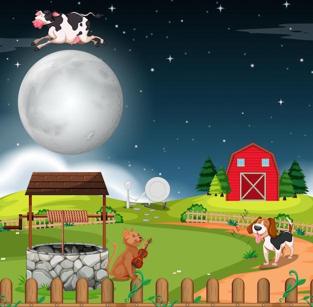 Escena rural por la noche