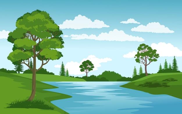 Escena rural con río y cielo nublado