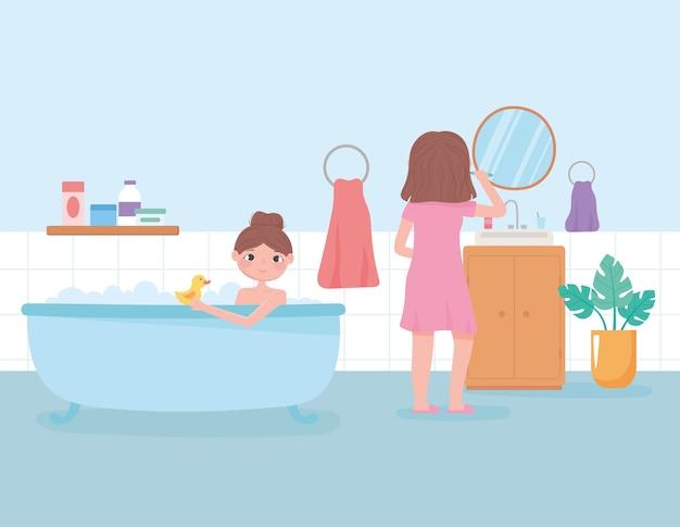 Escena de rutina diaria, niña cepillándose los dientes y mujer en la ilustración de vector de ilustración de bañera