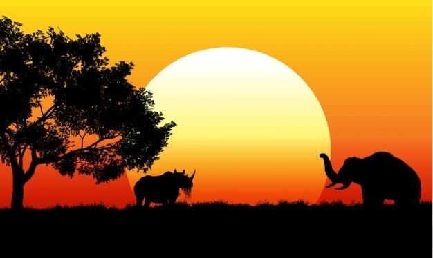 Escena de safari africano
