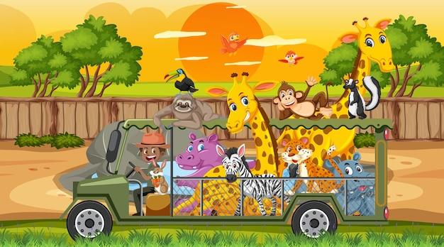 Escena de safari con animales salvajes en el coche jaula.