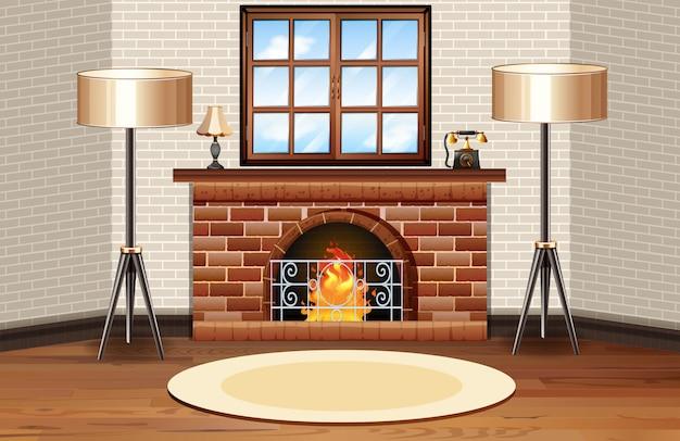 Escena de la sala con chimenea y lámparas.