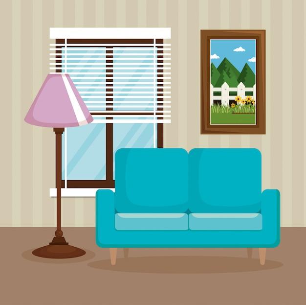 Escena de la sala de estar elegante