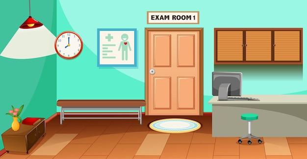 Escena de la sala de examen en blanco del hospital