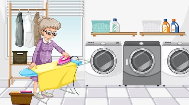 Escena de la sala de lavandería con una anciana planchando su ropa