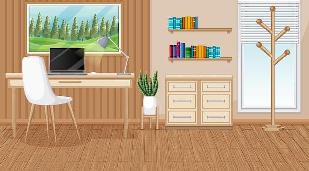 Escena de la sala de trabajo con una computadora portátil sobre la mesa.