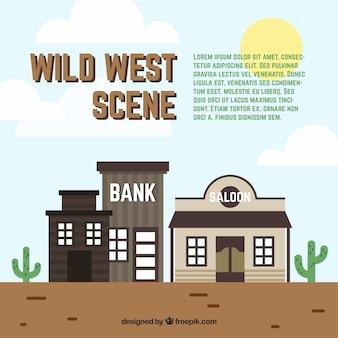 Escena del salvaje oeste con banco y taberna