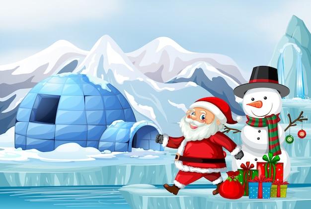 Escena con santa y muñeco de nieve en navidad