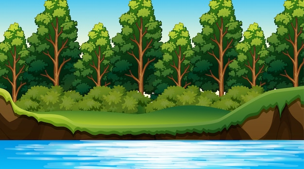 Escena de la selva con el rio