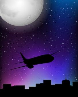 Escena de silueta con avión volando por la noche