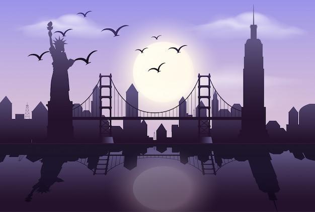 Escena de silueta con edificios en la ciudad por la noche