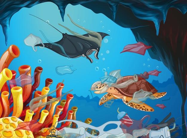 Escena submarina con animales y basura.