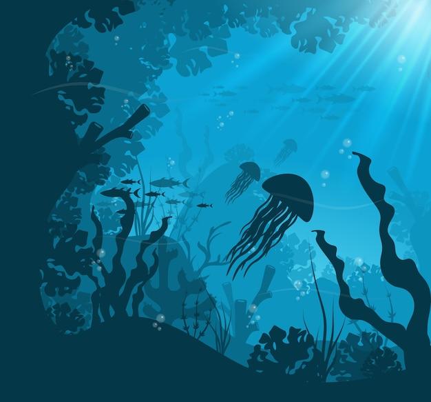 Escena submarina del océano