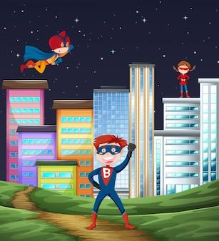 Escena de superhéroe infantil