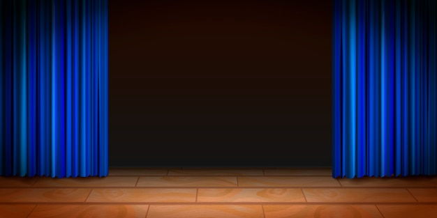 Escena de teatro de madera con fondo oscuro y cortinas azules