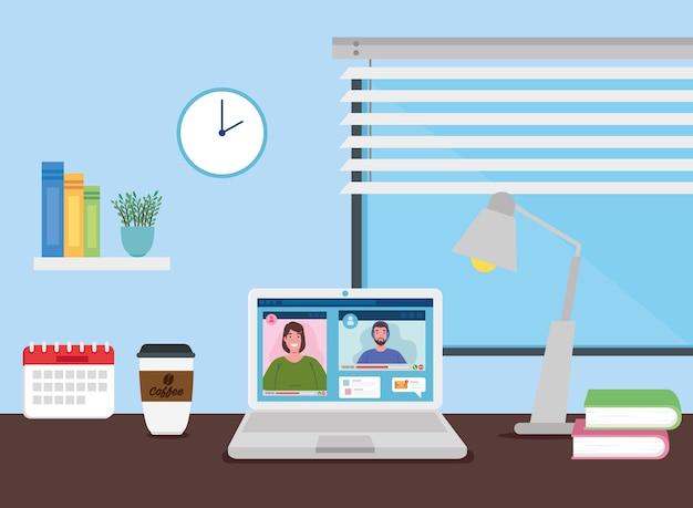 Escena de teletrabajo en casa interior, pareja en videoconferencia en portátil.