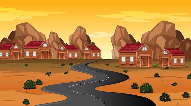 Escena temática del desierto occidental en la naturaleza.
