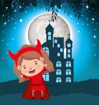 Escena de la temporada de halloween con diablo disfraz de niña