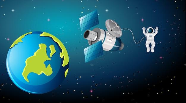 Escena de la tierra con astronauta y satélite.