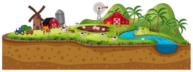 Escena de tierras de cultivo con animales