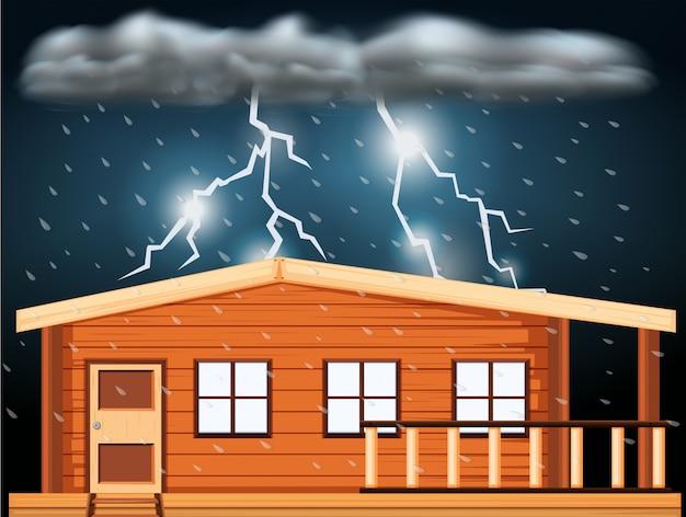 Escena con tormentas eléctricas sobre la casa.