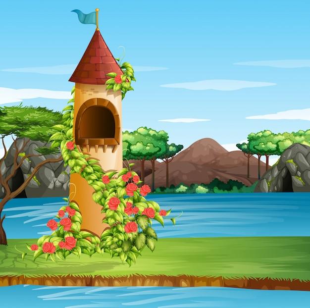Escena con torre alta llena de flores